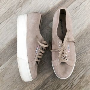 Superga Sand Suede Platform Sneakers 10